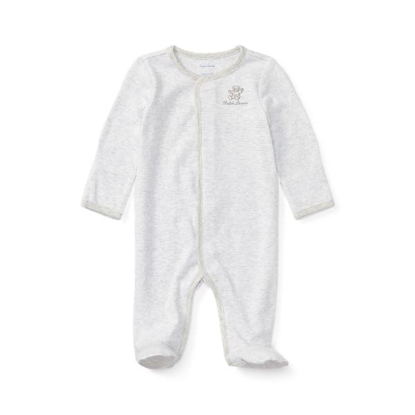 폴로 랄프로렌 Polo Ralph Lauren Striped Cotton Footed Coverall,Grey Heather Multi