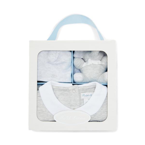 폴로 랄프로렌 베이비 기프트 세트 Polo Ralph Lauren 3 Piece Gift Box Set,Quartz Grey Heather