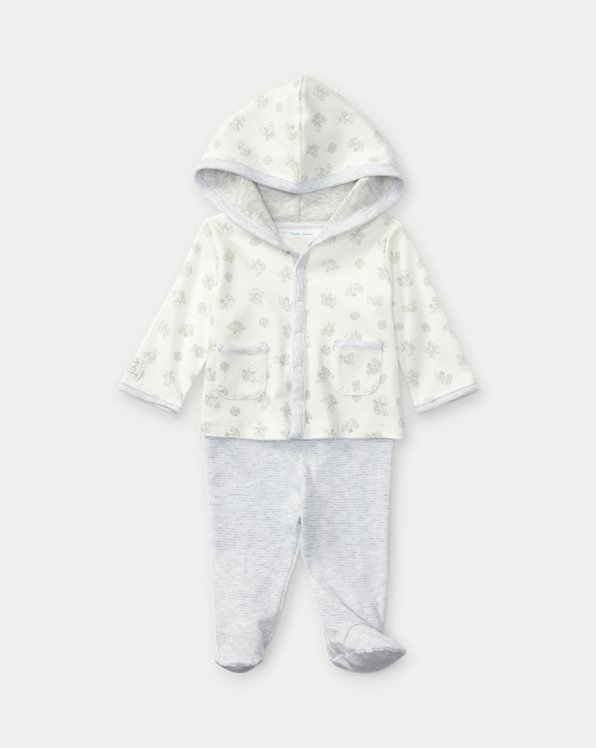 Cotton Hoodie & Footed Pant Set
