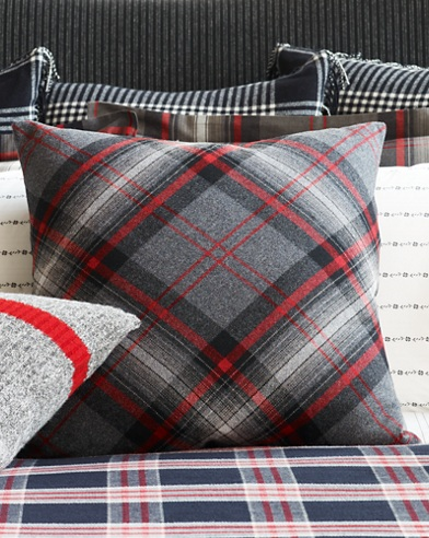 Diagonal-Plaid Throw Pillow