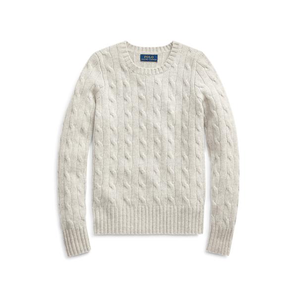 폴로 랄프로렌 걸즈 꽈배기 니트 캐시미어 스웨터  Polo Ralph Lauren Cable-Knit Cashmere Sweater,New Grey Heather