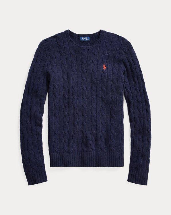 Pull à col rond torsadé en laine