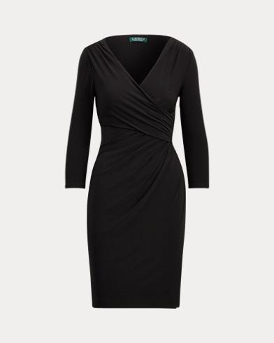 Faux-Wrap Jersey Dress