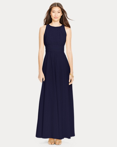 Shirred-Waist Georgette Gown