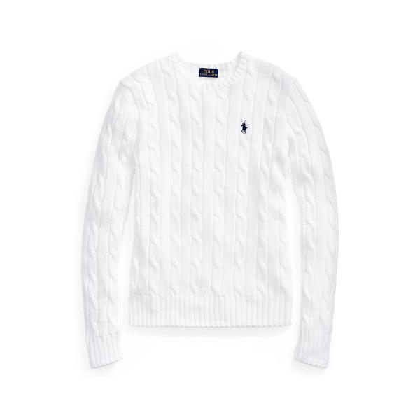 폴로 랄프로렌 Polo Ralph Lauren Slim Fit Cable Knit Sweater,White