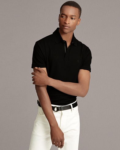 Zip-Placket Stretch Piqué Polo