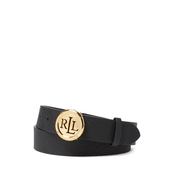 Lauren Ralph Lauren Saffiano Leather Belt In Black
