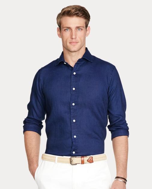 Classic Fit Indigo Linen Classic Shirt W2H9YDEI