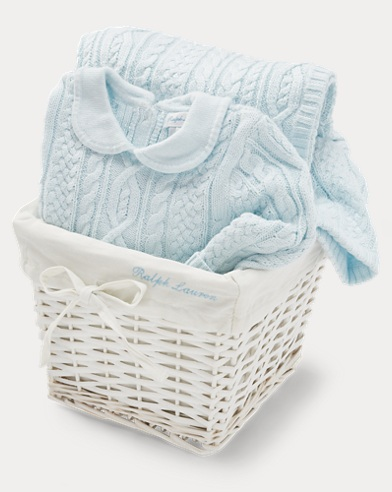 Aran-Knit 2-Piece Gift Basket