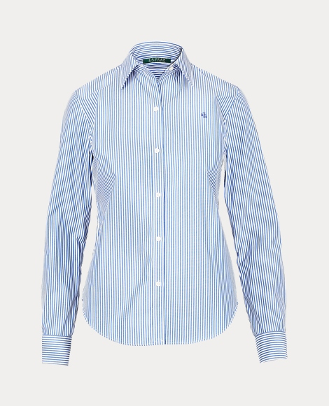 Blue-and-white striped button-down shirt.
