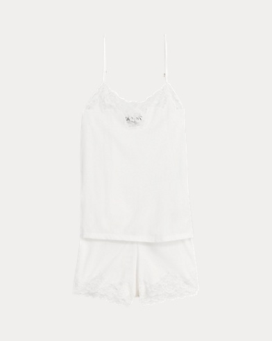 Lace-Trimmed Pajama Short Set