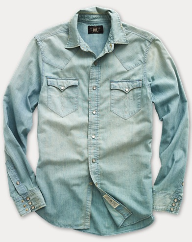 Camicia western Buffalo in chambray