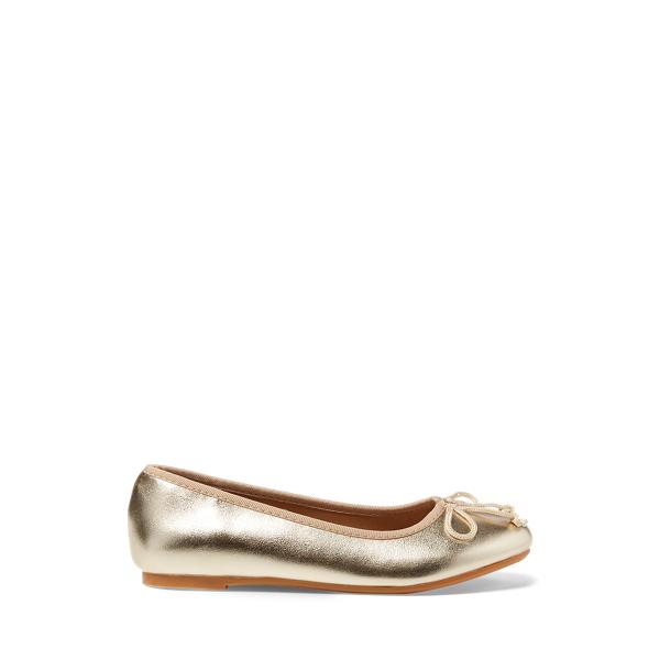 폴로 빅키즈 랄프로렌 발렛 슈즈 Polo Ralph Lauren Nellie Metallic Ballet Flat,Champagne Metallic
