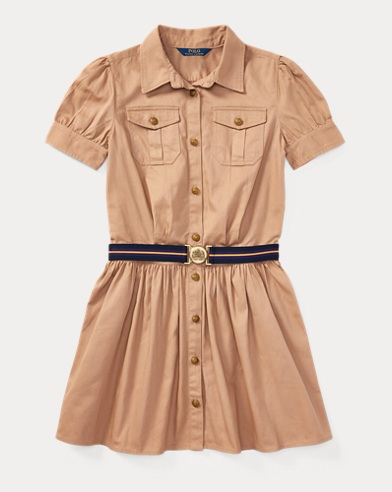 Belted Cotton Chino Shirtdress
