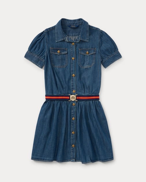 4ce9b4e10e GIRLS 7-14 YEARS Belted Denim Shirtdress 1