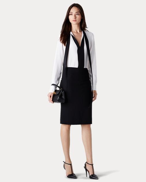 Cindy Stretch Wool Skirt Midi Skirts Ralph Lauren