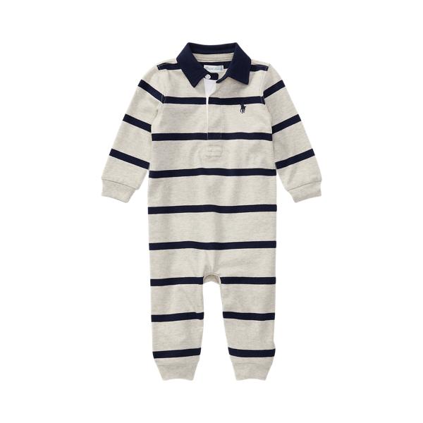 폴로 랄프로렌 Polo Ralph Lauren Striped Cotton Rugby Coverall,Light Heather Multi