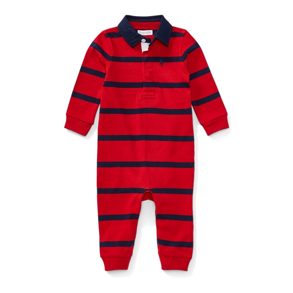Ralph Lauren Striped Cotton Rugby Coverall Rl Red Multi 6M
