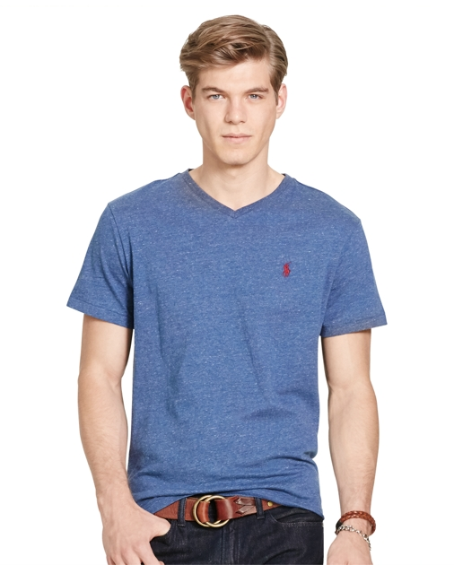 a7011f891184 Men s V-Neck Jersey Cotton T-Shirt with Polo Logo