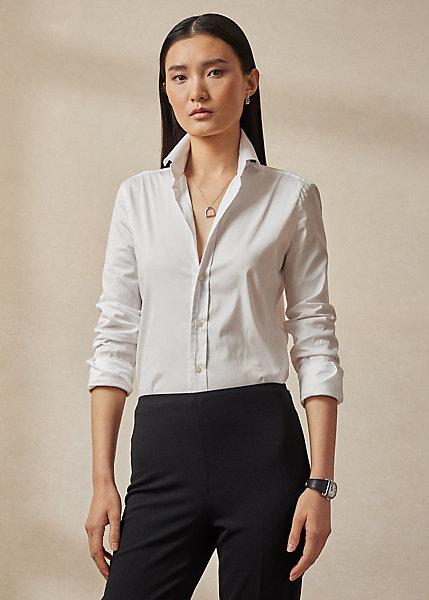 Ralph Lauren Women's Iconic Style Charmain Stretch Sateen Shirt In White