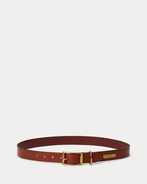 Brass-Buckle Leather Belt