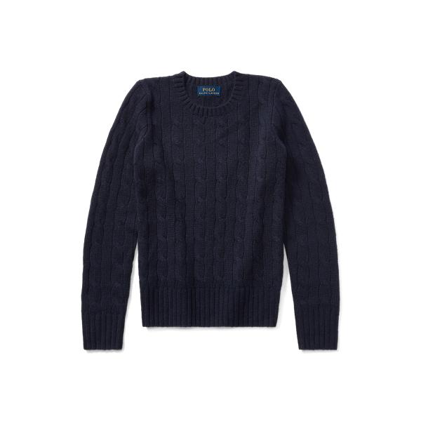 폴로 랄프로렌 걸즈 꽈배기 니트 캐시미어 스웨터 444123  Polo Ralph Lauren Cable Knit Cashmere Sweater,French Navy