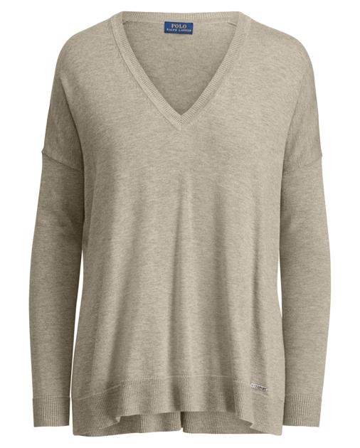 Sweater Cotton Cotton Blend V Neck Blend FKl1JcT