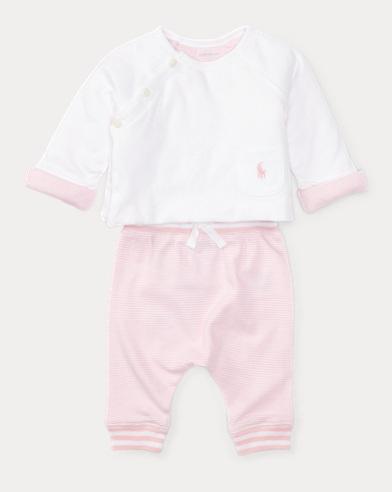 Cotton Top & Striped Pant Set