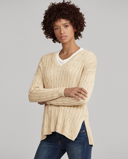 Polo Ralph Lauren Cable-Knit Side-Slit Sweater 1