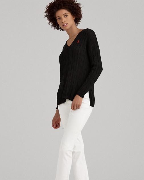 d29c9f132 Polo Ralph Lauren Cable-Knit Side-Slit Sweater 1