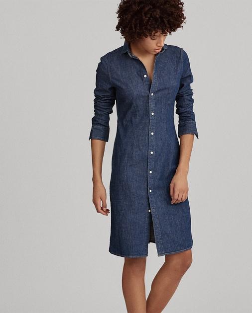 ec5431233f9 Stretch Denim Shirtdress | Midi Dresses | Ralph Lauren