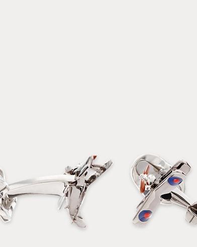 Silver Airplane Cuff Links