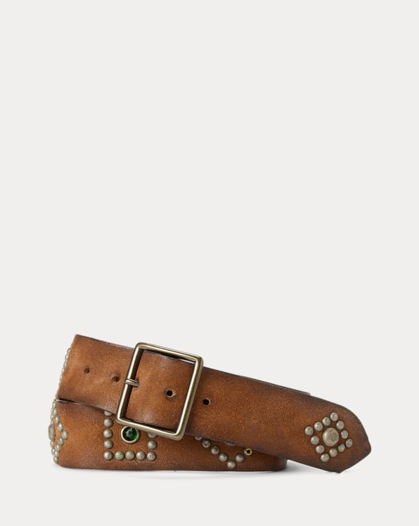 Studded Roughout Leather Belt