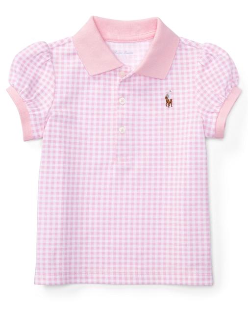98f3be30 Baby Girl Gingham Cotton Mesh Polo Shirt 1