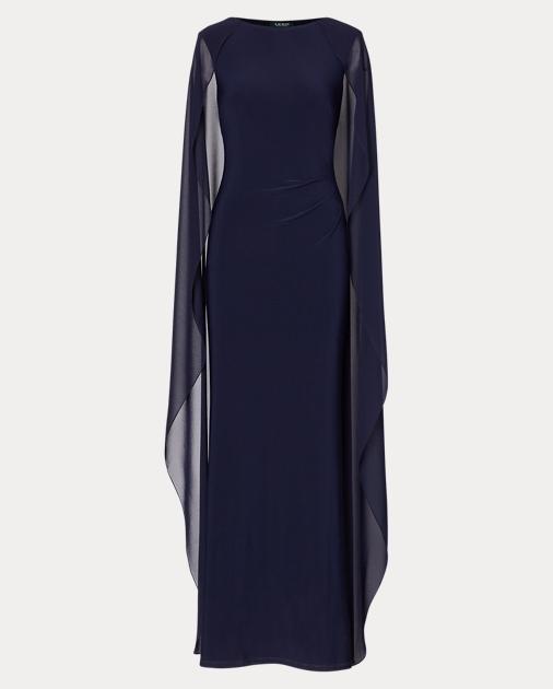 Georgette-Cape Jersey Gown | Evening Dresses | Ralph Lauren