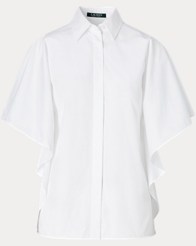 Cotton Flutter-Sleeve Shirt
