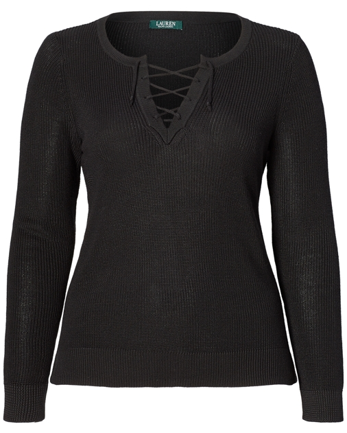 Cotton Blend Lace Up Sweater Sweaters Woman Sizes 14 22 Ralph