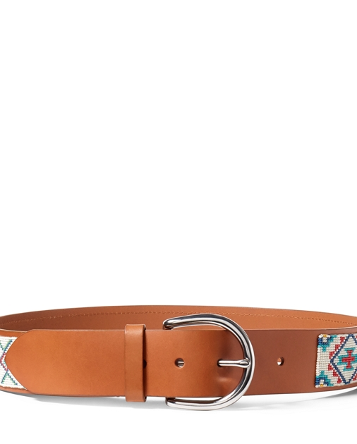 663e208d2 Polo Ralph Lauren Hand-Beaded Leather Belt 1