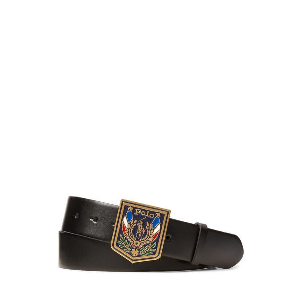 폴로 랄프로렌 Polo Ralph Lauren Shield Buckle Leather Belt,Black/ Brass