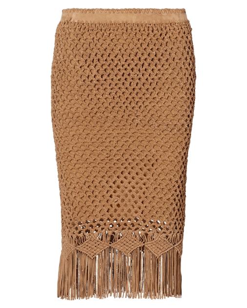 0fa89877c138c Polo Ralph Lauren Fringe Crocheted Suede Skirt 1