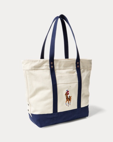 9bf7a43f9d8f color (2)  Natural Navy · Natural Red. Polo Ralph Lauren. Canvas Big Pony  Tote