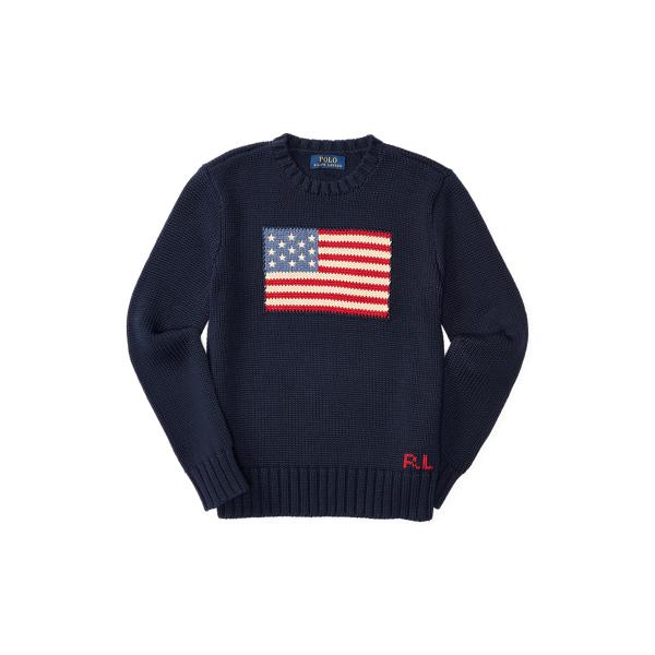 폴로 랄프로렌 Polo Ralph Lauren Flag Cotton Crewneck Sweater,헌터 Hunter Navy
