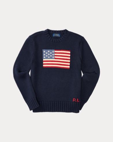 Jersey de algodón y cuello redondo con la bandera