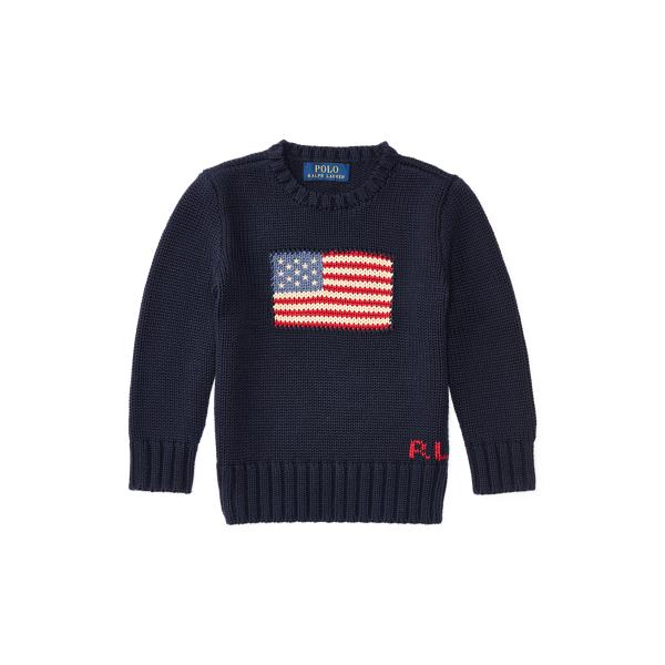 폴로 랄프로렌 남아용 스웨터 Polo Ralph Lauren Flag Cotton Crewneck Sweater,헌터 Hunter Navy