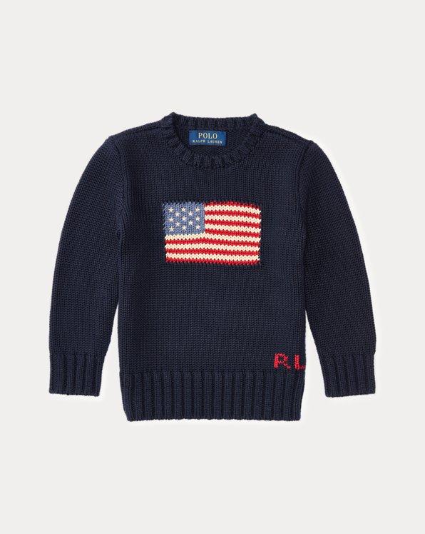 Pull drapeau à col rond en coton