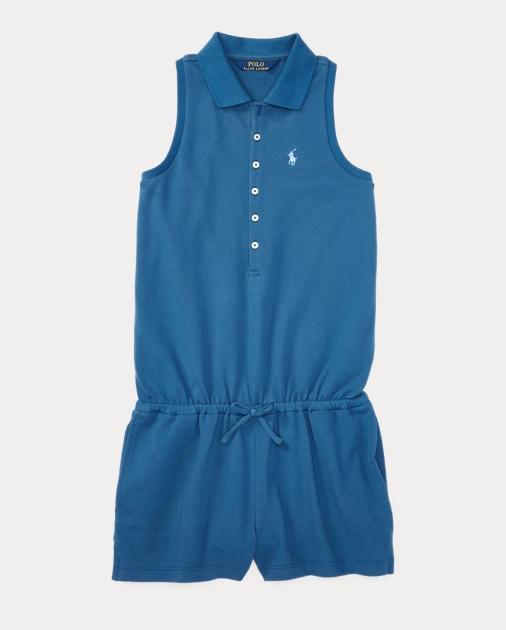 b8218e5eb3fb Girls 7-16 Stretch Cotton Polo Romper 1