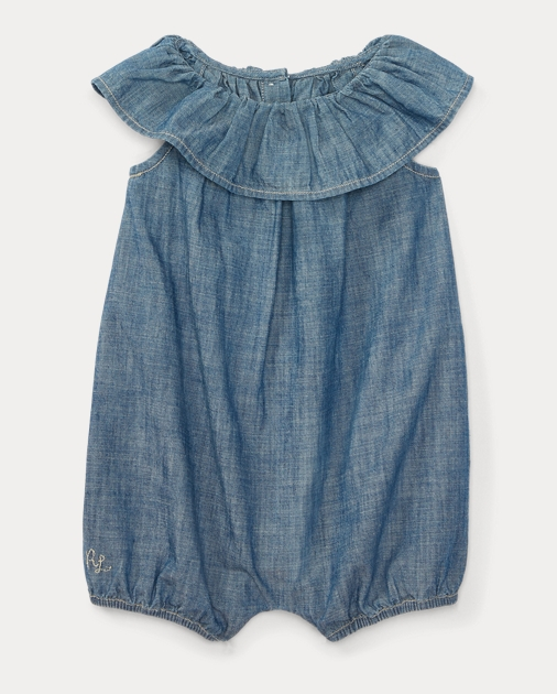 ad2e1f63bed1 Baby Girl Ruffled Cotton Chambray Romper 1