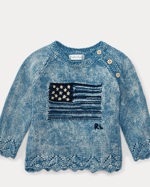 b8f7c7b2094ab Baby Girl Flag Combed Cotton Sweater 1