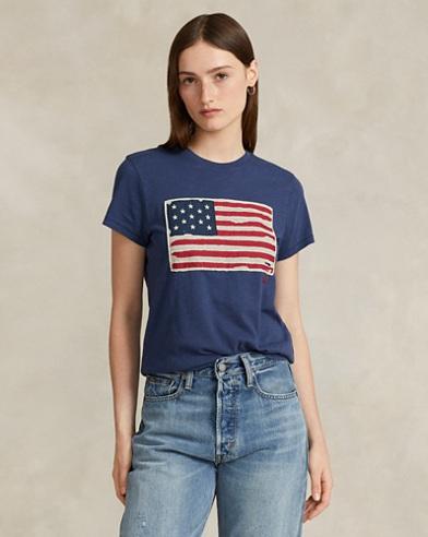 Jersey-Grafik-T-Shirt mit Flagge