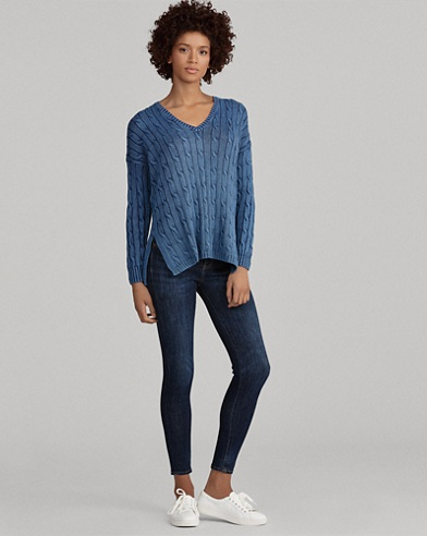 Cable Cotton V-Neck Sweater